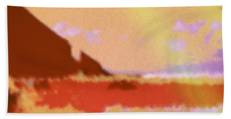 Abstract Beach Towel featuring the digital art North Friars Bay Diffused by Ian MacDonald