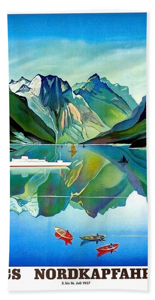 North Kape Beach Towel featuring the painting North Kape, Norway, Vintage Travel Poster by Long Shot