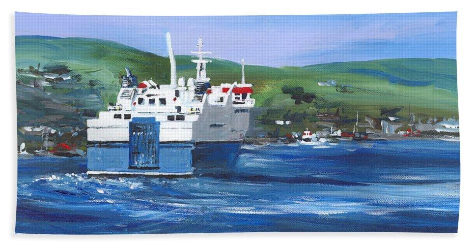 Stromness Beach Towel featuring the painting North Link - Stromness by Brigitte Hayden