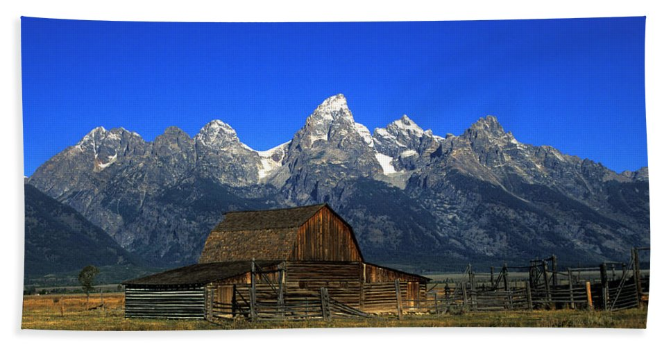 Late Snow Beach Towel featuring the photograph North Moulton Barn Grand Tetons by Gary Langley