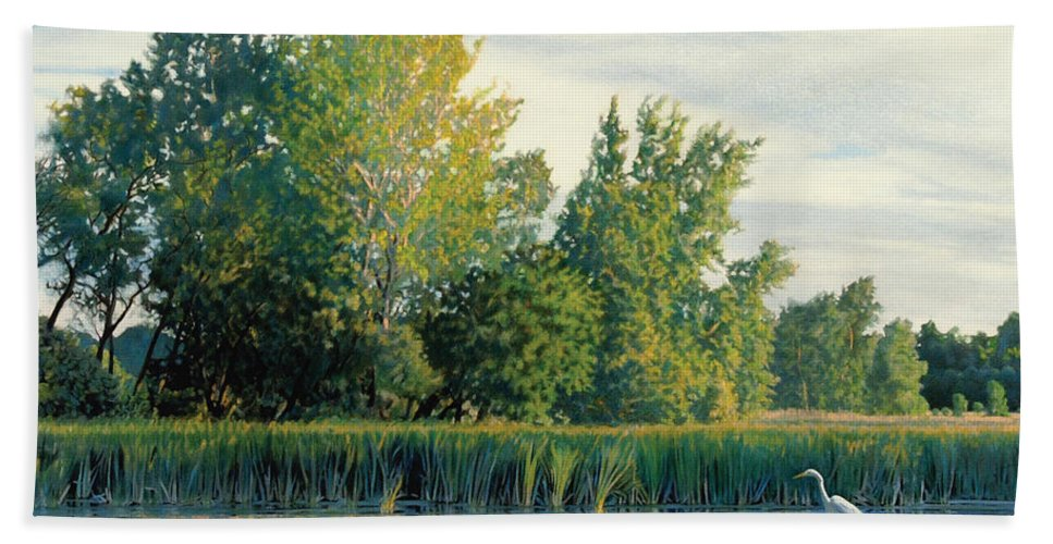 Great Egret Beach Towel featuring the drawing North of the Grade-Great Egret by Bruce Morrison