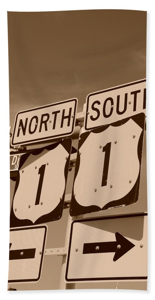 Sepia Beach Towel featuring the photograph North South 1 by Rob Hans