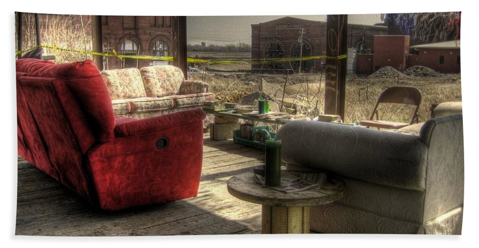 Hdr Beach Towel featuring the photograph North St. Louis Porch by Jane Linders
