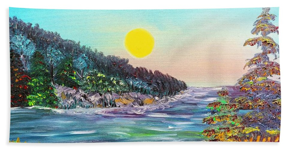 North Beach Towel featuring the painting North With Yellow Sun by Elizabeth Goodermote
