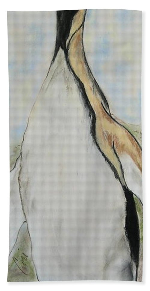 Penguin Beach Towel featuring the drawing Northern Bliss by Cori Solomon