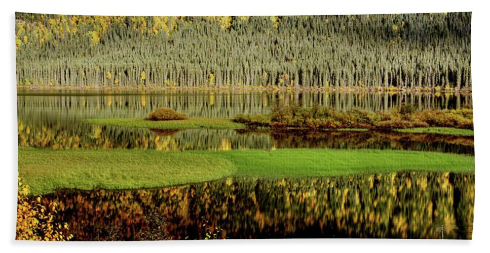 Beach Towel featuring the digital art Northern Lake by Mark Duffy