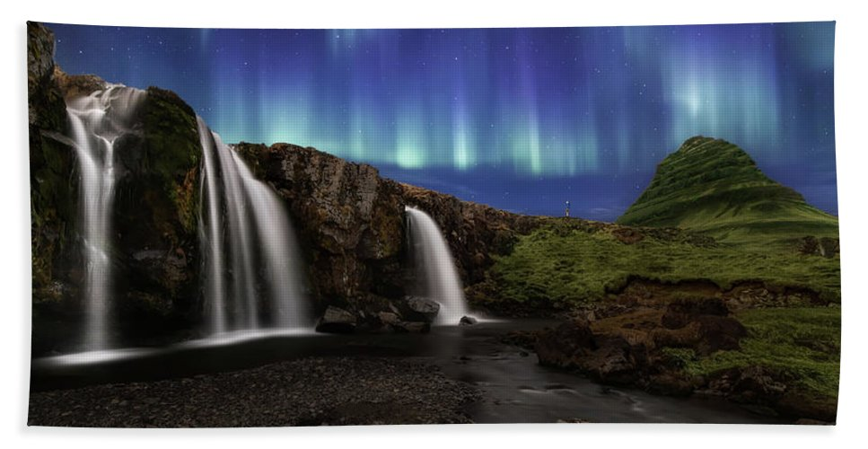 Iceland Beach Towel featuring the photograph Northern Lights At Kirkjufellsfoss Waterfalls Iceland by Larry Marshall