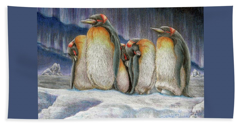 Fuqua - Artwork. Wildlife Beach Towel featuring the drawing Northern Lights - Goodnight by Beverly Fuqua