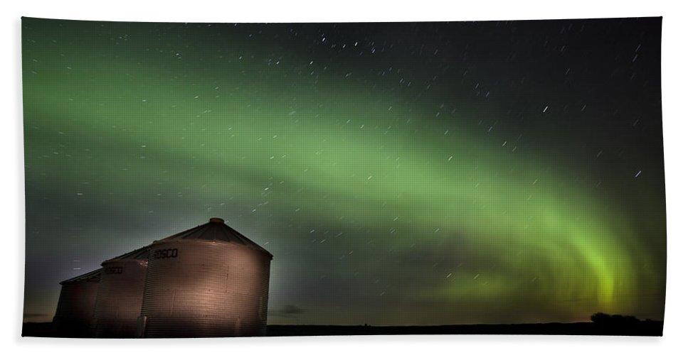 Aurora Beach Towel featuring the photograph Northern Lights Saskatchewan Canada by Mark Duffy
