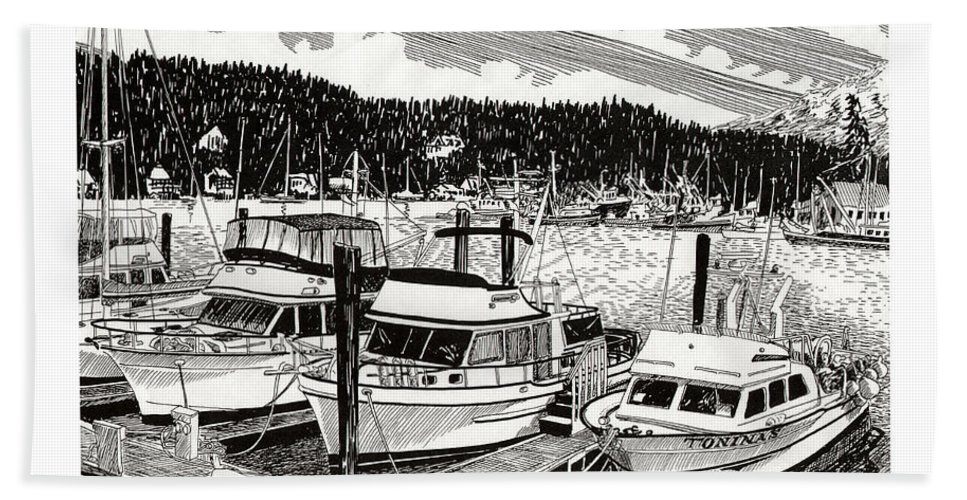 Yacht Portraits Beach Towel featuring the drawing Gig Harbor Yacht Moorage by Jack Pumphrey