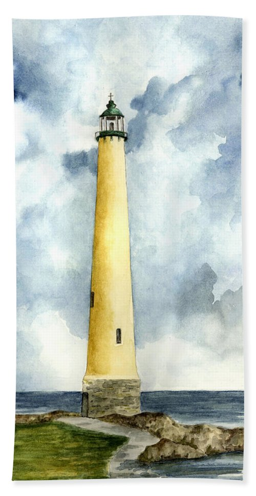 Lighthouse Beach Towel featuring the painting Northwood Lighthouse by Michael Vigliotti