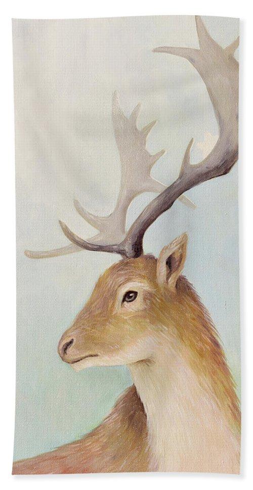 Deer Beach Towel featuring the painting Norway Deer by Olga Yatsenko