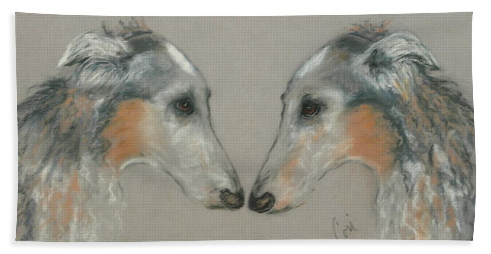 Dog Beach Towel featuring the drawing Nose To Nose by Cori Solomon