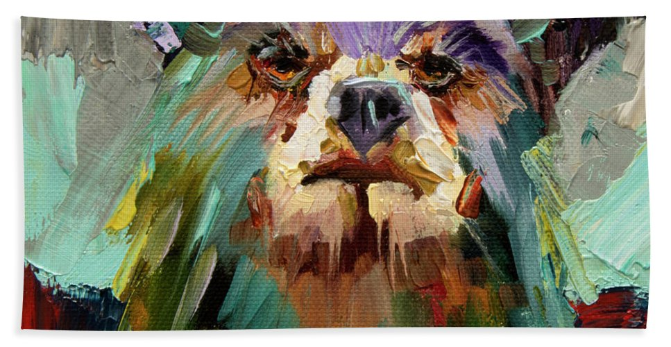 Bear Art Beach Towel featuring the painting Nosey One by Diane Whitehead