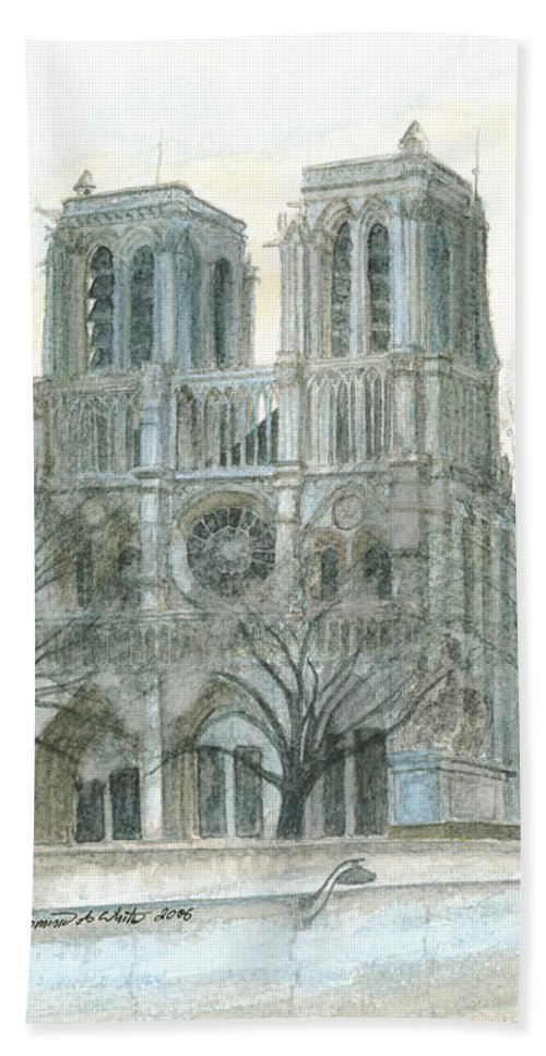 Notre Dame Beach Towel featuring the painting Notre Dame Cathedral In March by Dominic White