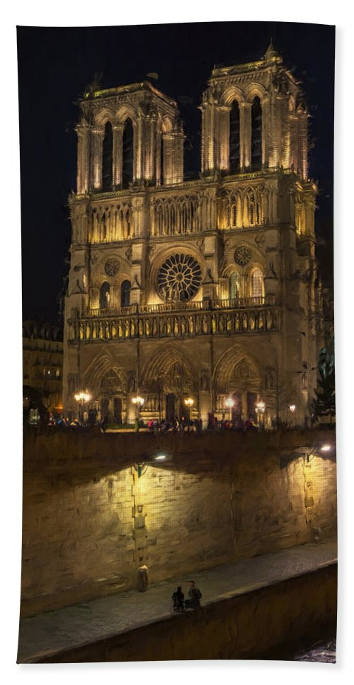 Joan Carroll Beach Towel featuring the photograph Notre Dame Night Painterly by Joan Carroll