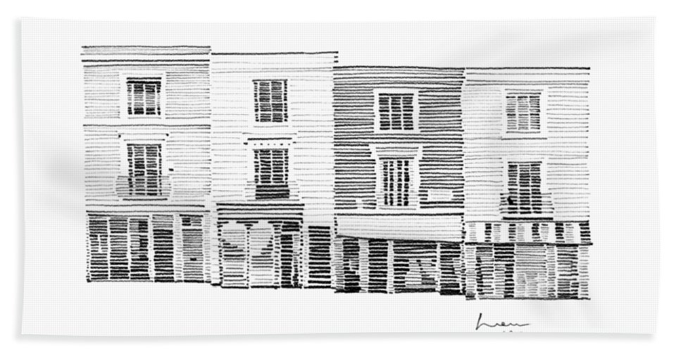 Houses Beach Towel featuring the drawing Notting Hill London City Scene by Hieu Tran