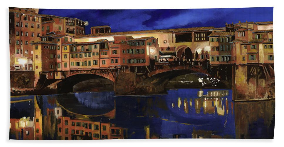 Firenze Beach Towel featuring the painting Notturno Fiorentino by Guido Borelli