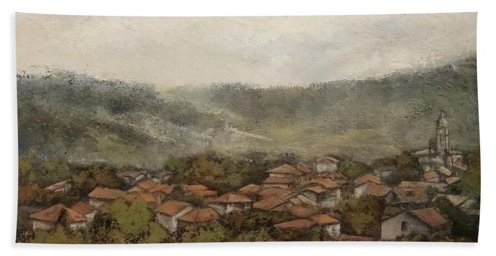 Cantabria Beach Towel featuring the painting Novales-Cantabria by Tomas Castano