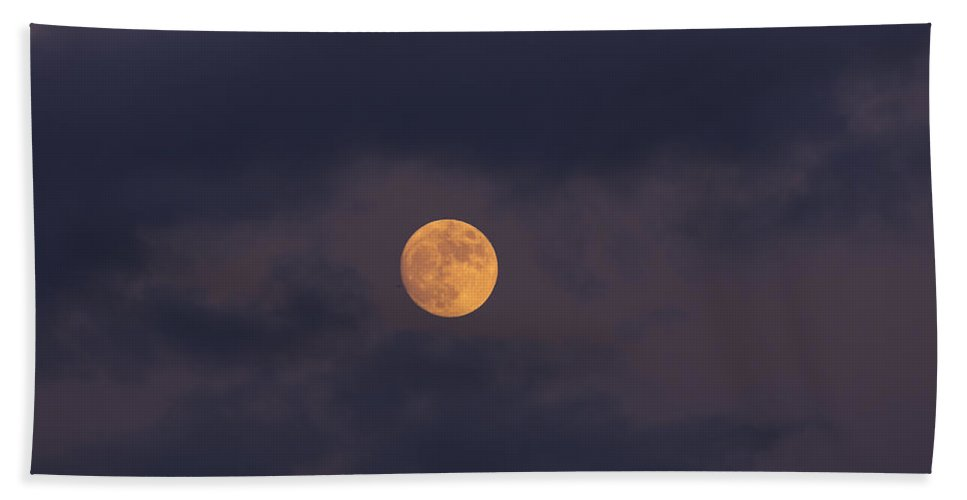 November Beach Towel featuring the photograph November Full Moon With Plane by Angela Stanton