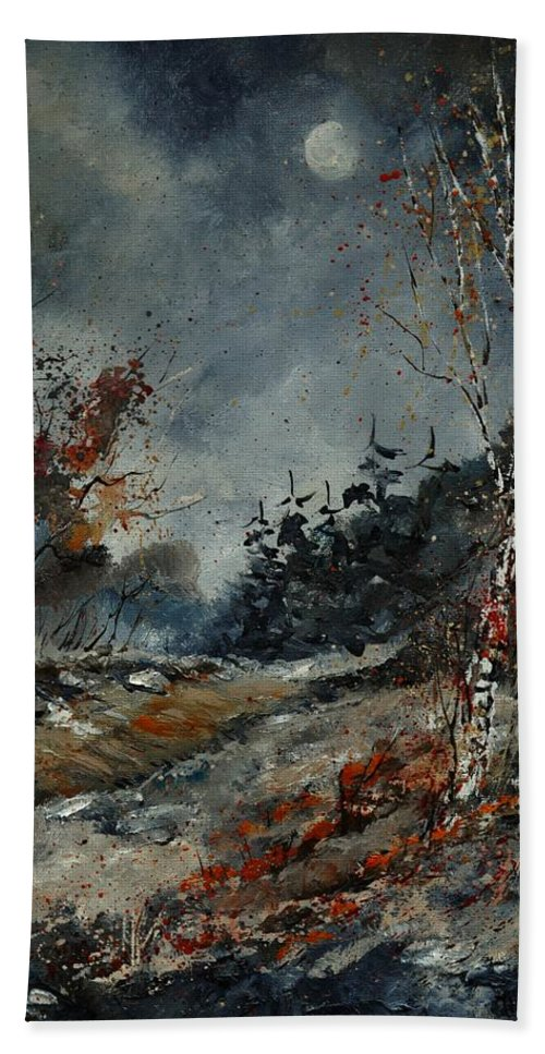 Landscape Beach Towel featuring the painting November by Pol Ledent