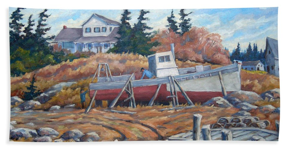 Boat Beach Towel featuring the painting Novia Scotia by Richard T Pranke