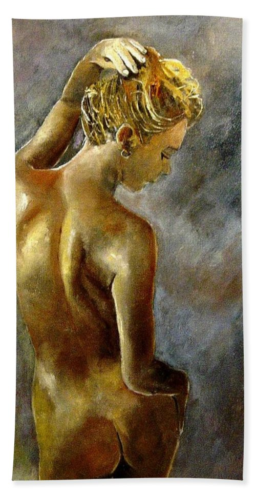 Girl Nude Beach Towel featuring the painting Nude 27 by Pol Ledent