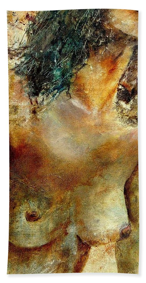 Girl Nude Beach Sheet featuring the painting Nude 34 by Pol Ledent