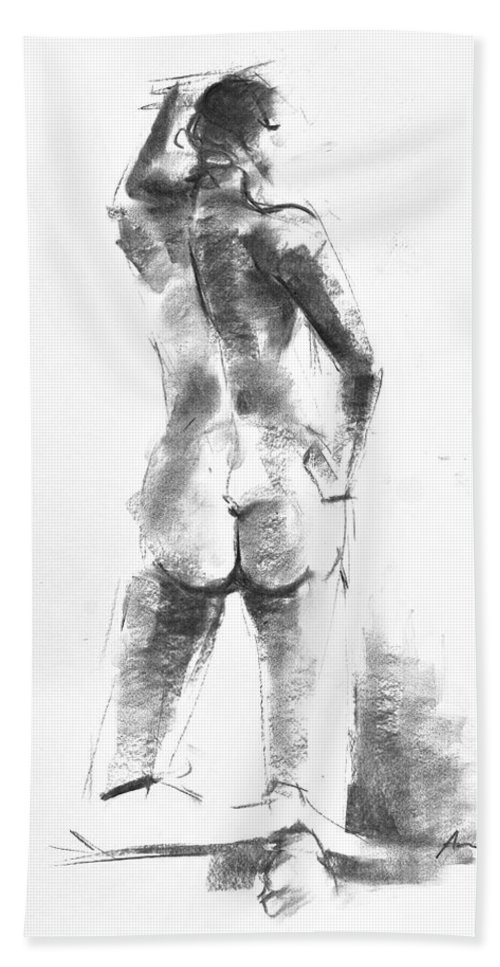 Nude Beach Towel featuring the drawing Nude 44 by Ani Gallery