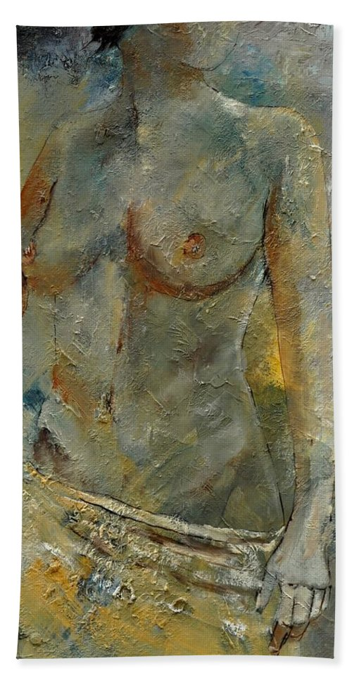 Nude Beach Towel featuring the painting Nude 451140 by Pol Ledent