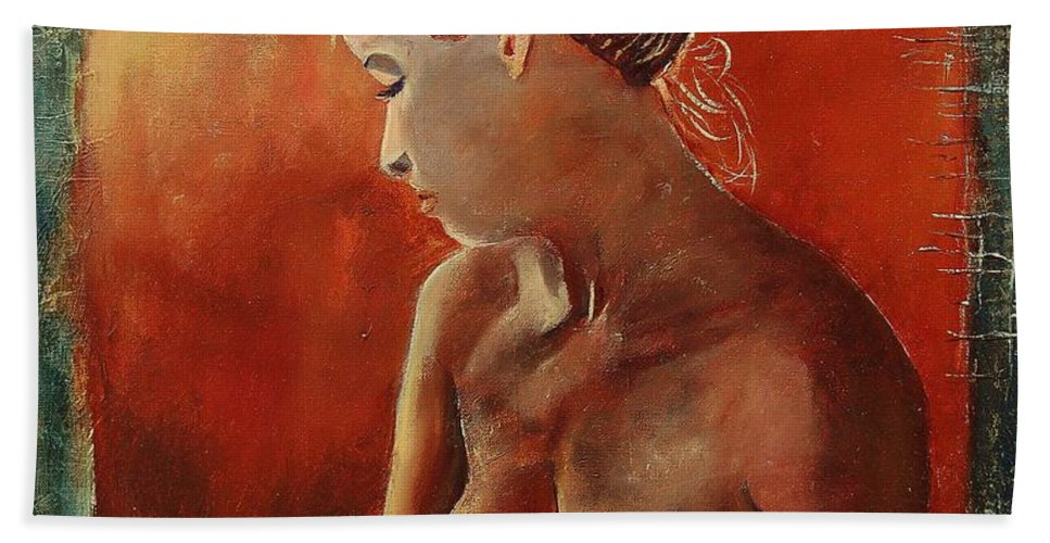Nude Beach Towel featuring the painting Nude 458755 by Pol Ledent