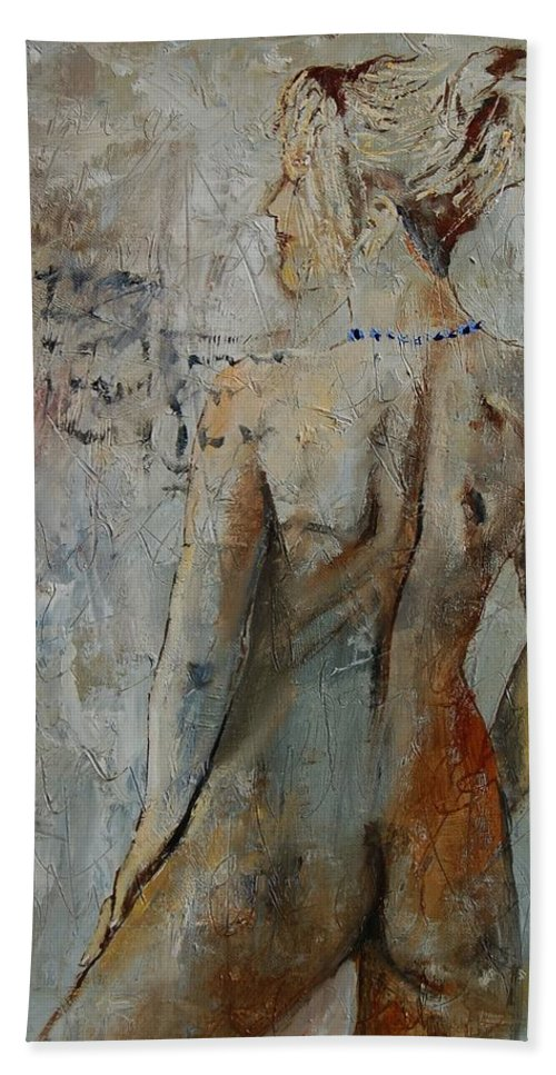 Girl Beach Sheet featuring the painting Nude 459020 by Pol Ledent
