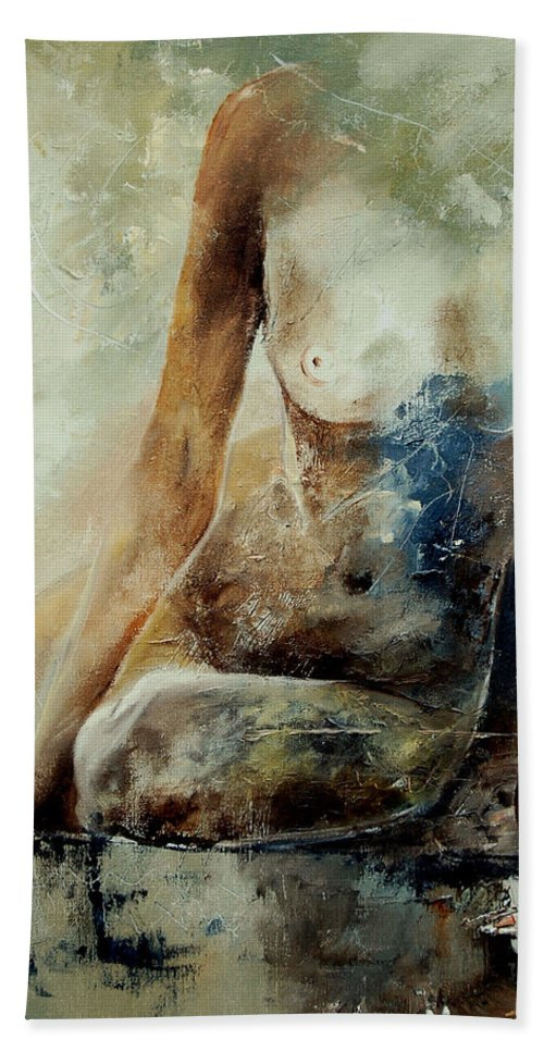 Nude Beach Sheet featuring the painting Nude 560408 by Pol Ledent