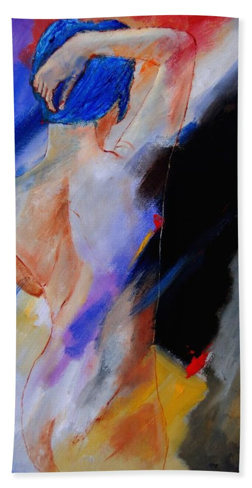 Nude Beach Sheet featuring the painting Nude 579020 by Pol Ledent