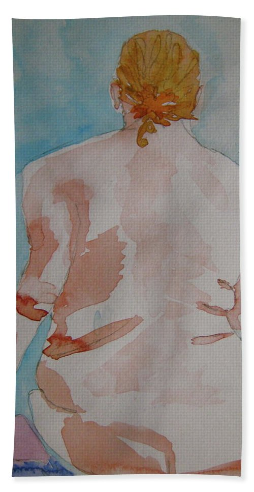 Nude Beach Towel featuring the painting Nude by Beverley Harper Tinsley