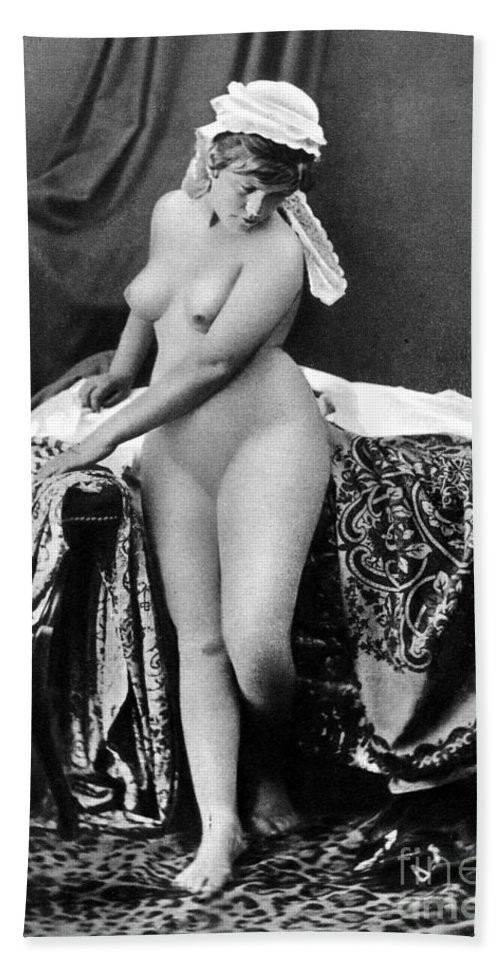 1885 Beach Towel featuring the photograph Nude In Bonnet, C1885 by Granger