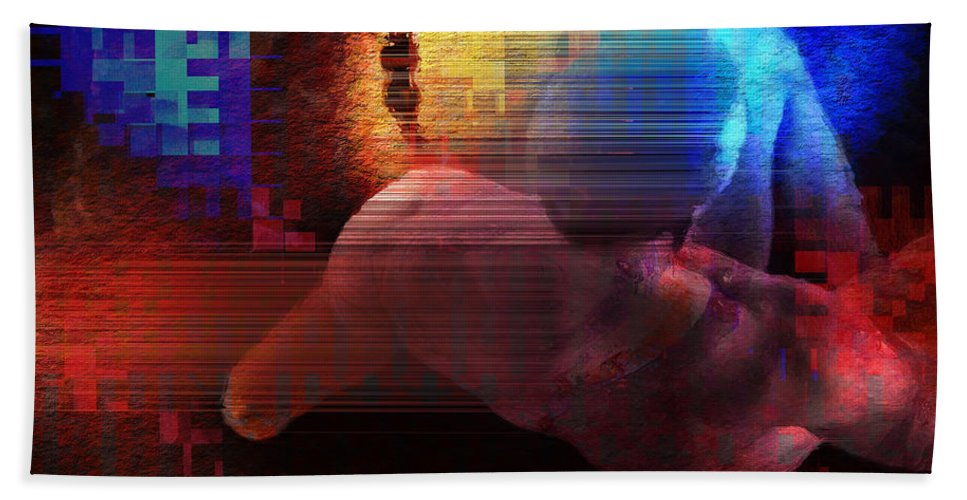 Nude Beach Towel featuring the painting Nude In Glitchscape by David Derr