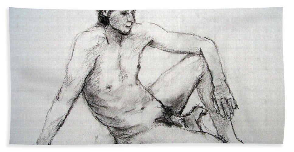 Drawing Beach Towel featuring the drawing Nude Man by Alfons Niex