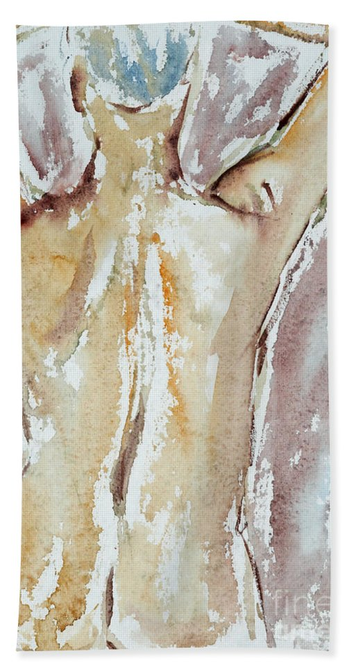 Woman Beach Towel featuring the painting Nude by Michal Boubin