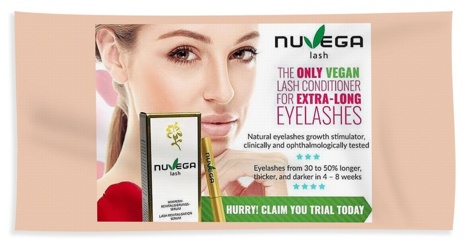 Nuvega Lash Review - Healthy Revitalizing Vegan Eyelash Growth ... Beach Towel featuring the glass art Nuvega Lash by Nuvega Lash