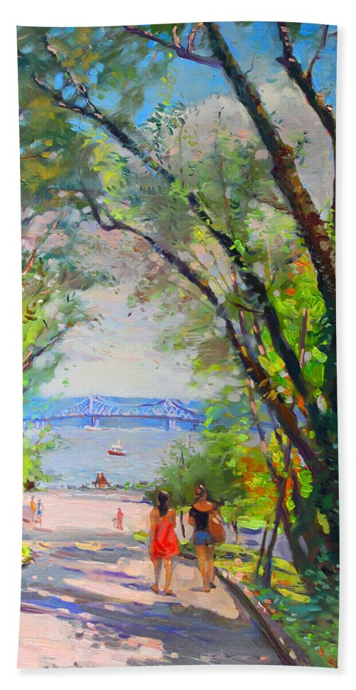 Nyack Park Beach Towel featuring the painting Nyack Park A Beautiful Day For A Walk by Ylli Haruni
