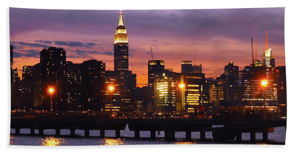 Nyc Beach Towel featuring the photograph Sunset City Lights by Drew Goehring