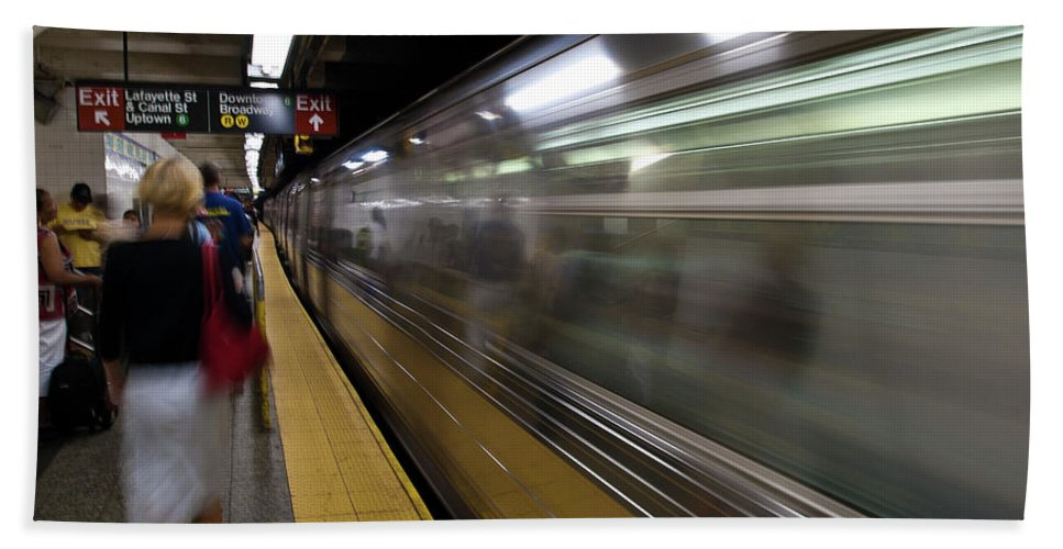 Broadway Beach Towel featuring the photograph Nyc Subway by Sebastian Musial