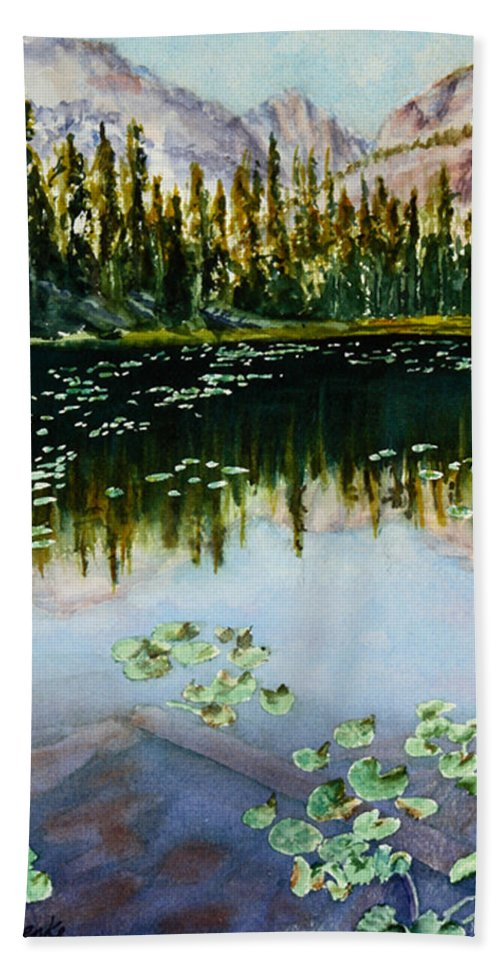 Nymph Lake Beach Towel featuring the painting Nymph Lake by Mary Benke