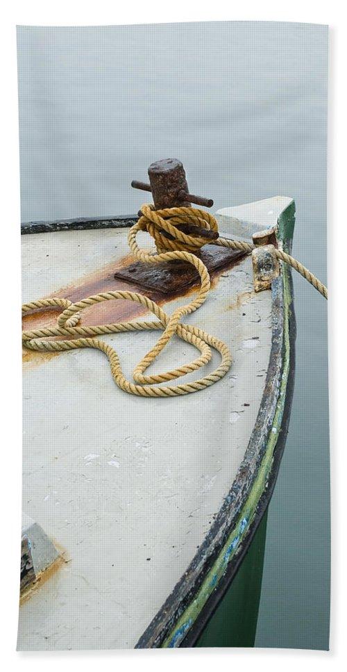 Oak Bluffs Beach Towel featuring the photograph Oak Bluffs Fishing Boat by Charles Harden