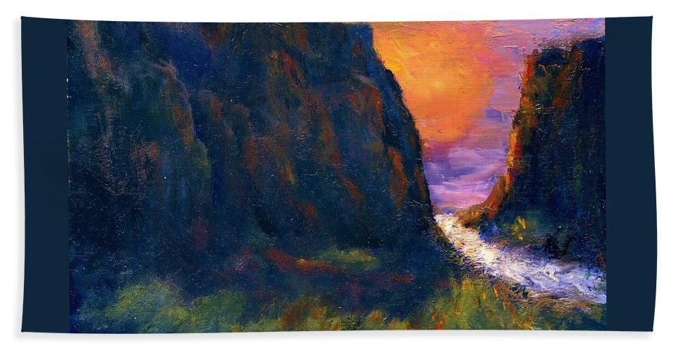 Impressionistic Beach Towel featuring the painting Oak Creek Canyon by Gail Kirtz