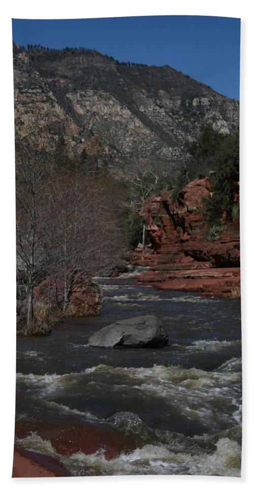 Oak Creek Beach Towel featuring the photograph Oak Creek Surging by Grant Washburn
