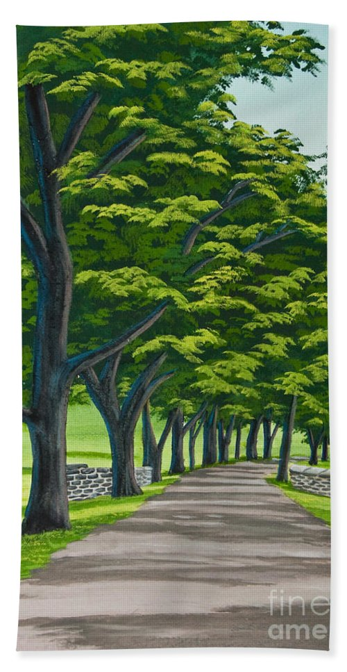Colgate University Oak Drive Beach Towel featuring the painting Oak Drive by Charlotte Blanchard