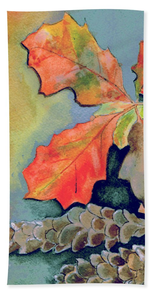 Watercolor Beach Towel featuring the painting Oak Leaves And Pinecones by Brenda Owen
