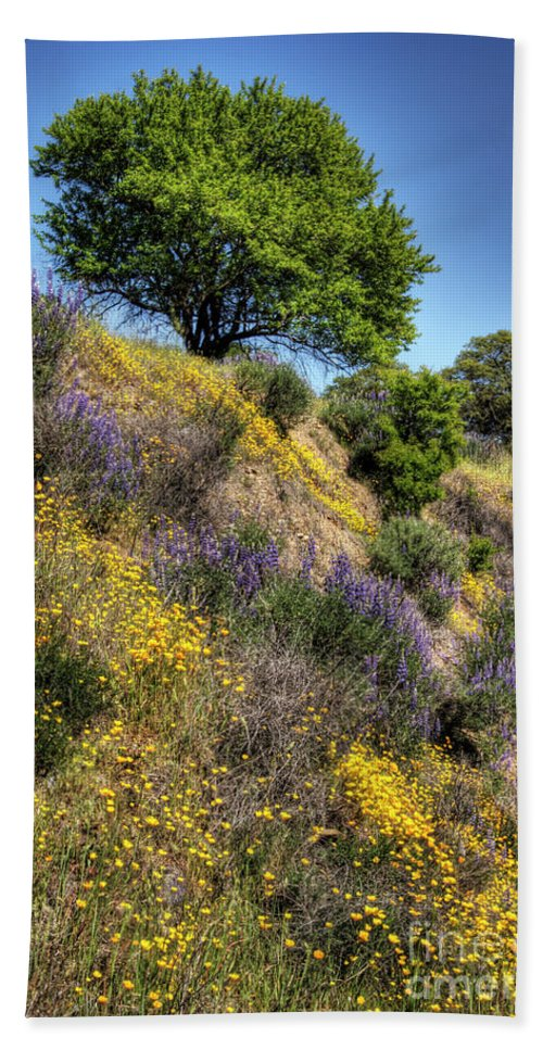 Oak Beach Towel featuring the photograph Oak Tree And Wildflowers by Jim And Emily Bush